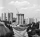 Residential house construction in Chisinau, Moldovas capital, USSR, 1980