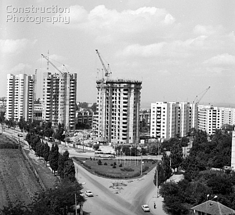 Residential house construction in Chisinau Moldovas capital USSR 1980