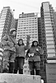 Building workers on the All-Union Oncological Research Center project, Moscow, Russia, 1977