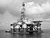 Kaspmorneft oil rig capable of drilling in 200-meter-deep sections on the Caspian Sea, Azerbaijan, USSR, 1988