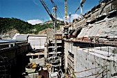 The Bureya hydropower plant has commissioned two units for now, and there is much more to build. The turbine house under construction, Amur Region, Russia, 2004