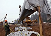 The construction of the surface segment of the North-European gas pipeline, Vologda Region, Russia, 2006