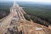 The construction of the surface segment of the North European gas pipeline, Vologda Region, Russia, 2006