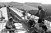 Syrian workers and Soviet experts on the Algamo viaduct construction site in the Damascus environs, Syria, 1984