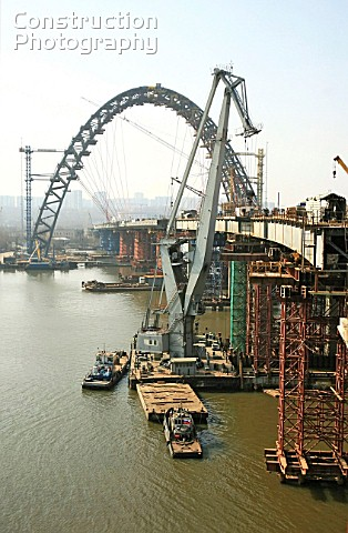 Building a new automobile bridge over the Moskva River in Moscows Serebryany Bor Golden Forest distr