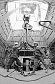 Workers repairing an exploratory deep oil rig, Sakhalin Region, Russia, 1986