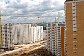 Construction of a new housing estate in Pavshino. Krasnogorsky district of the Moscow Region, Russia, 2007