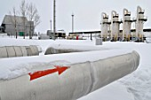 The compressor station of the Pisarevskoye trunk gas-pipeline, Voronezh Region, Russia, 12th January 2009