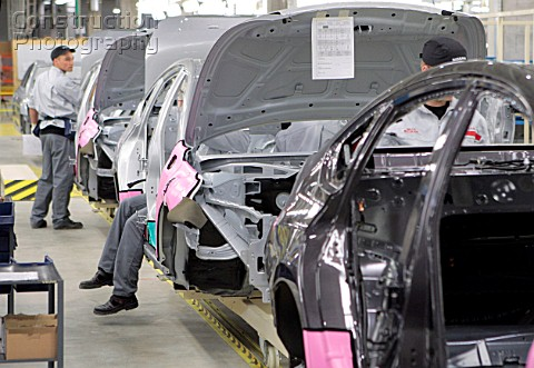 The assembly line of the Nissan assembly plant which opened in St Petersburg Russia