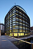 The Point, Paddington Basin at night, Terry Farrell & Co, London, United Kingdom