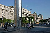 The Spire or Spike and OConnell Street, Dublin, Ireland. Ian Ritchie Architects.