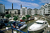 Chelsea Harbour with Marina and boats, London, UK