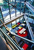 View down through Atrium in Waterside Building (Richard Rogers Partnership), Paddington Basin, London, UK