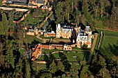 Aerial view of Minley Manor, Hawley, Berkshire, UK