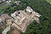 Aerial view south of new housing development in Stanmore, Harrow, London, UK