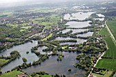 Aerial view south-east of Lynsters Lake, Pynesfield Lake in Rickmansworth, Three Rivers, UK