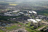 Aerial view south-east of Power Station in Didcot, Oxfordshire, UK