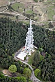 Aerial view north east of microwave tower in Olddean Common north of Camberley, Surrey, UK