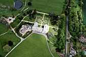 Aerial view east of Audley End House in Audley End outside west of Saffron Walden, Essex, UK