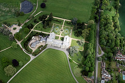 Aerial view east of Audley End House in Audley End outside west of Saffron Walden Essex UK