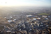 Aerial Photography of Olpmpic Park, Stratford site of London 2012 Olympic Games, taken on 13 Jan 2012