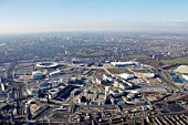 Aerial Photography of Olpmpic Park, Stratford site of London 2012 Olympic Games, taken on 3 Feb 2012
