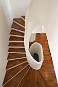 Switzerland, modern wooden stairs in house, Xavier Jeanneret architect
