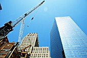 Tower Cranes moving materials at Tower One site, Lower Manhattan, New York City, USA