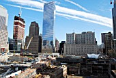 View of World Trade Center site from the south side of the site, Lower Manhattan, New York City, USA
