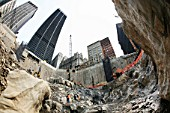 Deep into bedrock at Tower Four site, Lower Manhattan, New York City, USA