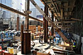 Existing World Trade cross beam being cut to make way for the steel of the new building to be added, Lower Manhattan, New York City, USA