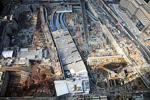 Overview of World Trade Center site as seen from 7 WTC Lower Manhattan New York City USA
