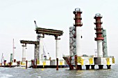 Construction of steel tubular piles for approach piers to Incheon Bridge in Seoul South Korea