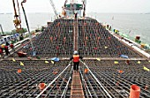 Construction of massive pylon foundations for Incheon Bridge in Seoul South Korea