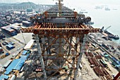 Approach viaducts supported on extensive falsework at Stonecutters Bridge in Hong Kong