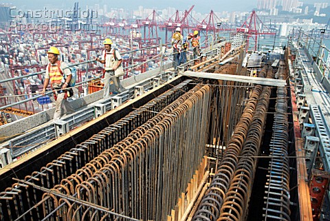 Reinforcement fitted to large pier crossbeam at Stonecutters bridge in Hong Kong