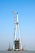Pylon of Sutong Bridge that is worlds longest cable-stayed bridge in Jiangsu province China