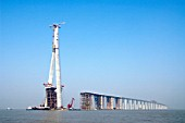 Pylon and approach viaducts of Sutong Bridge that is worlds longest cable-stayed bridge in Jiangsu province China