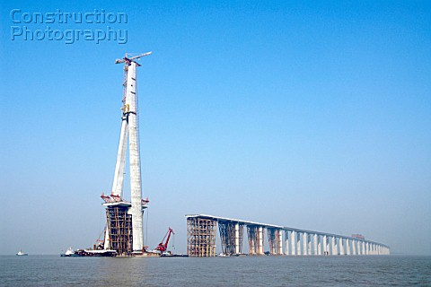 Pylon and approach viaducts of Sutong Bridge that is worlds longest cablestayed bridge in Jiangsu pr