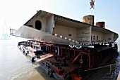 Steel box girder deck unit prior to being lifted into position at Sutong Bridge in Jiangsu Province, China