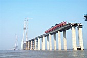 Pylon and approaches to Sutong Bridge that will span across the Yangtze River in Jiangsu Province, China
