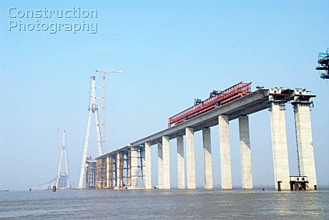Pylon and approaches to Sutong Bridge that will span across the Yangtze River in Jiangsu Province Ch