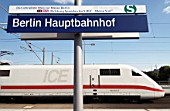 DB Intercity ICE high speed train at new Hauptbahnhof main railway station in Berlin, Germany