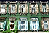 Traditional ornate wooden houses in Irkutsk, Siberia, Russia