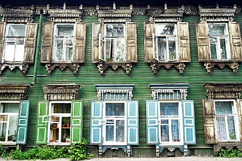 Traditional ornate wooden houses in Irkutsk Siberia Russia
