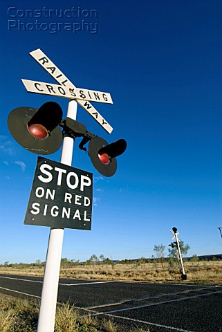Railway crossing sign in outback Australia