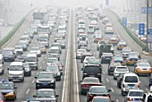 Heavy traffic and pollution on Third Ring Road in Beijing, China