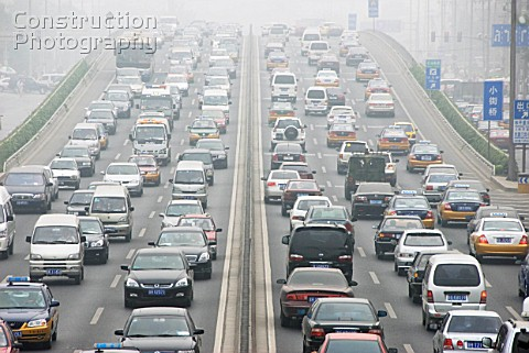 Heavy traffic and pollution on Third Ring Road in Beijing China