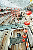 Interior view of atrium of modern upmarket Seasons Place shopping mall in central Beijing 2009