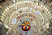 Interior view of spectacular circular atrium inside modern new Joy City shopping mall in Xidan district of Beijing 2009